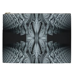 Fractal Blue Lace Texture Pattern Cosmetic Bag (xxl)