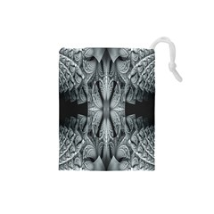 Fractal Blue Lace Texture Pattern Drawstring Pouches (small)