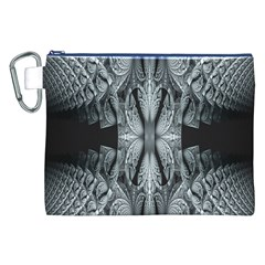 Fractal Blue Lace Texture Pattern Canvas Cosmetic Bag (xxl)