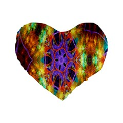 Kaleidoscope Pattern Ornament Standard 16  Premium Flano Heart Shape Cushions