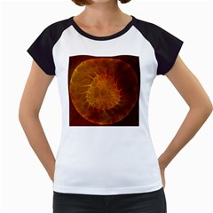 Orange Warm Hues Fractal Chaos Women s Cap Sleeve T