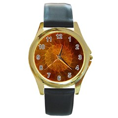 Orange Warm Hues Fractal Chaos Round Gold Metal Watch