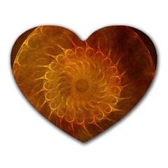 Orange Warm Hues Fractal Chaos Heart Mousepads