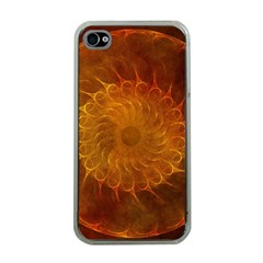 Orange Warm Hues Fractal Chaos Apple Iphone 4 Case (clear)