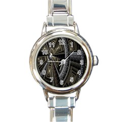 Fractal Circle Circular Geometry Round Italian Charm Watch