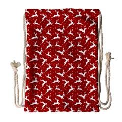 Red Reindeers Drawstring Bag (large)