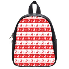 Knitted Red White Reindeers School Bag (small)