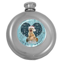 It s Winter And Christmas Time, Cute Kitten And Dogs Round Hip Flask (5 Oz)