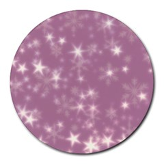 Blurry Stars Lilac Round Mousepads