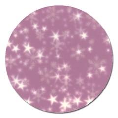 Blurry Stars Lilac Magnet 5  (round)