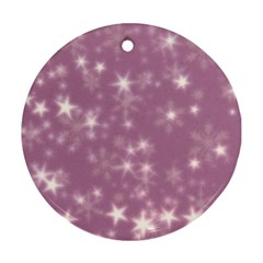 Blurry Stars Lilac Round Ornament (two Sides)