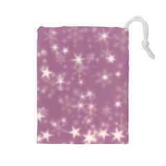 Blurry Stars Lilac Drawstring Pouches (large)