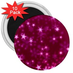 Blurry Stars Pink 3  Magnets (10 Pack)