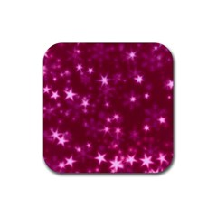 Blurry Stars Pink Rubber Square Coaster (4 Pack)
