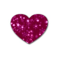 Blurry Stars Pink Heart Coaster (4 Pack)