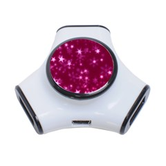 Blurry Stars Pink 3 Port Usb Hub