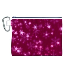 Blurry Stars Pink Canvas Cosmetic Bag (l)