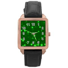 Blurry Stars Green Rose Gold Leather Watch