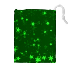 Blurry Stars Green Drawstring Pouches (extra Large)