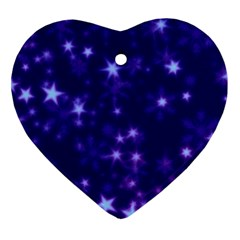 Blurry Stars Blue Heart Ornament (two Sides)