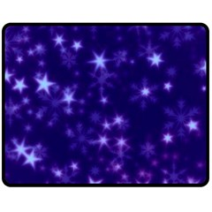 Blurry Stars Blue Fleece Blanket (medium)