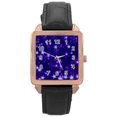 Blurry Stars Blue Rose Gold Leather Watch