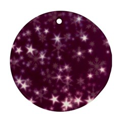 Blurry Stars Plum Round Ornament (two Sides)