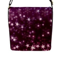 Blurry Stars Plum Flap Messenger Bag (l)