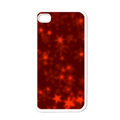 Blurry Stars Red Apple Iphone 4 Case (white)