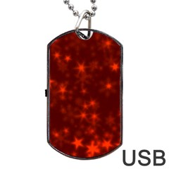 Blurry Stars Red Dog Tag Usb Flash (two Sides)