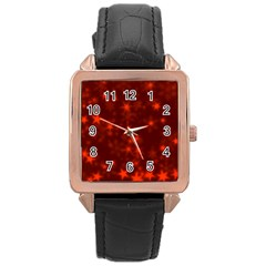 Blurry Stars Red Rose Gold Leather Watch