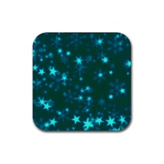 Blurry Stars Teal Rubber Coaster (square)