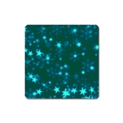 Blurry Stars Teal Square Magnet