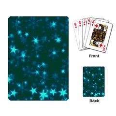 Blurry Stars Teal Playing Card