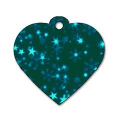 Blurry Stars Teal Dog Tag Heart (two Sides)