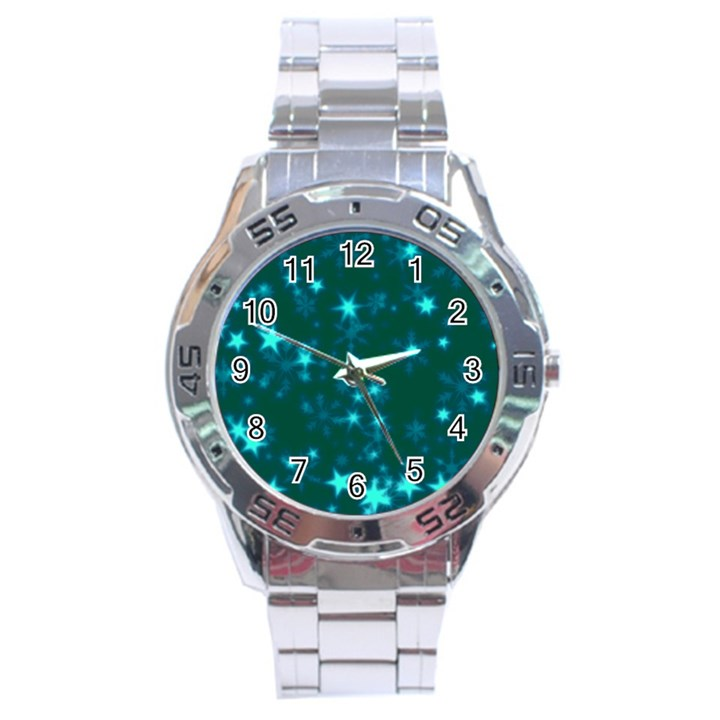 Blurry Stars Teal Stainless Steel Analogue Watch