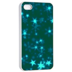 Blurry Stars Teal Apple Iphone 4/4s Seamless Case (white)