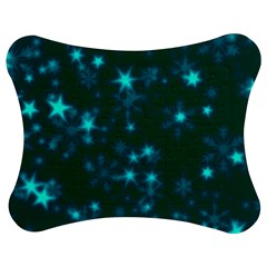 Blurry Stars Teal Jigsaw Puzzle Photo Stand (bow)