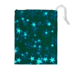 Blurry Stars Teal Drawstring Pouches (extra Large)