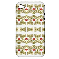 Striped Ornate Floral Print Apple Iphone 4/4s Hardshell Case (pc+silicone)