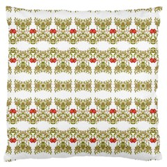 Striped Ornate Floral Print Standard Flano Cushion Case (one Side)