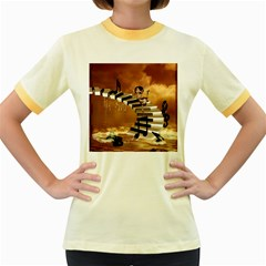 Cute Little Girl Dancing On A Piano Women s Fitted Ringer T Shirts