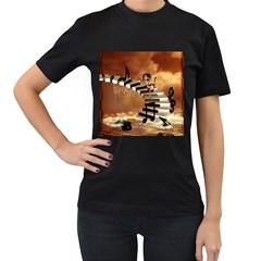 Cute Little Girl Dancing On A Piano Women s T Shirt (black)
