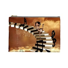 Cute Little Girl Dancing On A Piano Cosmetic Bag (large)