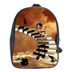 Cute Little Girl Dancing On A Piano School Bag (large)