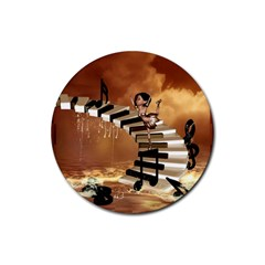 Cute Little Girl Dancing On A Piano Rubber Round Coaster (4 Pack)