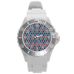 Rhomboids Pattern 2 Round Plastic Sport Watch (l)