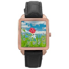 Beauty Nature Scene Photo Rose Gold Leather Watch