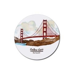 San Francisco Golden Gate Bridge Rubber Round Coaster (4 Pack)