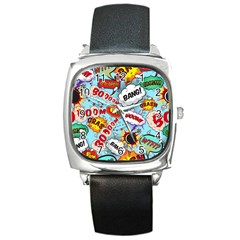 Comic Pattern Square Metal Watch